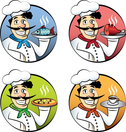 serving food: Italian cartoon chef or cook man with pizza, meat, fish and coffee set