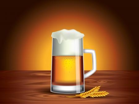 jarra de cerveza: Naturaleza muerta con vaso de cerveza en la mesa de madera, fondo oscuro Vectores