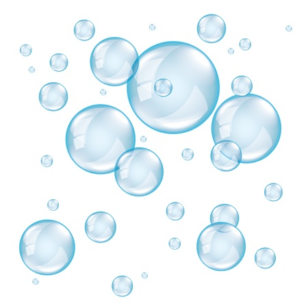 투명 비누는 흰색 배경 사실적인 벡터에 거품 일러스트