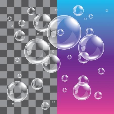 esfera: Pompas de jabón transparentes sobre fondo oscuro foto realista