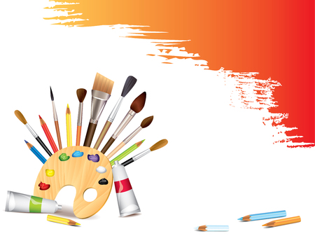 Art tools and grunge brush smears vector background Vector