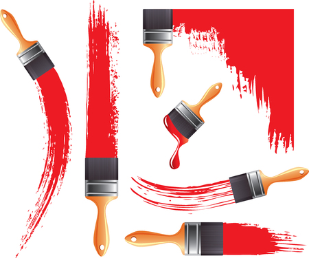 brush stroke: Grunge smears and brush with red paint set