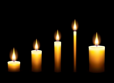 Candles on dark background of illustration