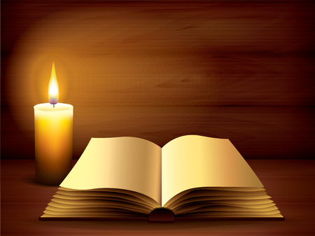 Opened ancient book and burning candle on dark wooden background Vector