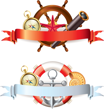 Two compositions with marine items and empty ribbon banners for your text Vector