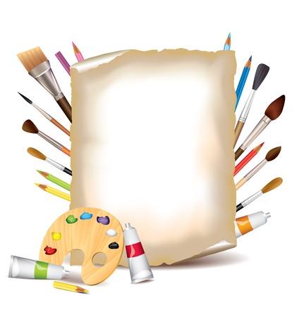 Herramientas del arte y la hoja de papel de fondo