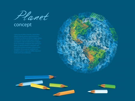 Colorful sketch of planet Earth, pencils  illustration Vector