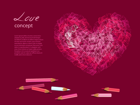 Colorful sketch of heart, pencils illustration Vector