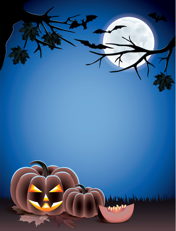 Halloween background with pumpkins on dark grass, bats, tree branches and moon Vector