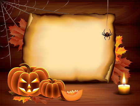 Halloween background with pumpkins, paper, candle, spider web and autumn leaves on wooden planks Vector