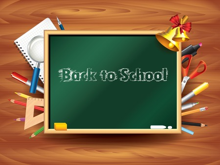 Back to school background: board and tools on wooden wall illustration Vector