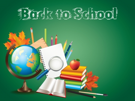 Back to school background with globe and tools illustration Stock Vector - 22131791