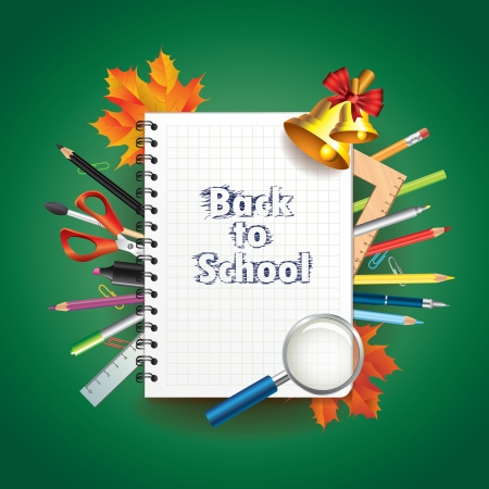 Back to school: notebook and tools illustration Vector