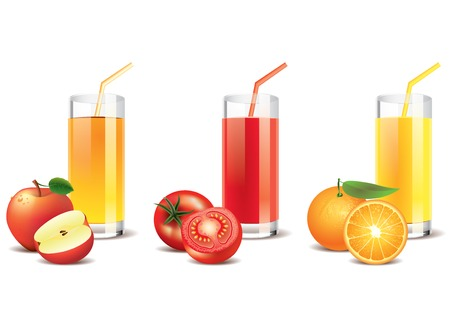 apple slice: Apple, tomato and orange juice in a glasses, isolated on white