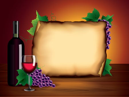 stilllife: Wine background with bottle, glass, grapes and blank paper on dark wooden table