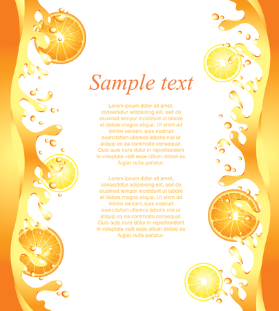 Juicy citrus splashes frame background in vector Фото со стока - 22764483
