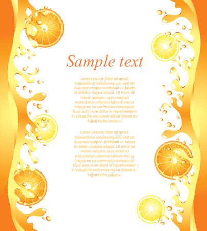 sappen: Sappige citrus spatten frame achtergrond in vector
