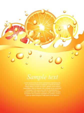 soda splash: Juicy citrus splashes vertical background in vector