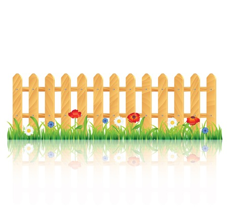 garden fence: Wooden fence on green grass with flowers, vector illustration