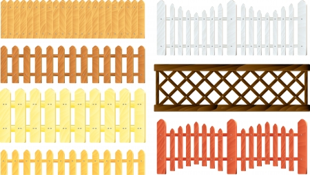 fence post: Collection of different wooden fences in vector Illustration