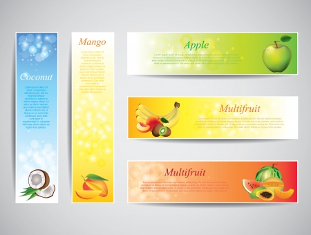 mangoes: Colorful fruits on bright banners, vector set