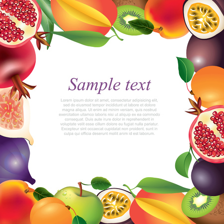 Fresh fruits closeup frame background in vector Vector