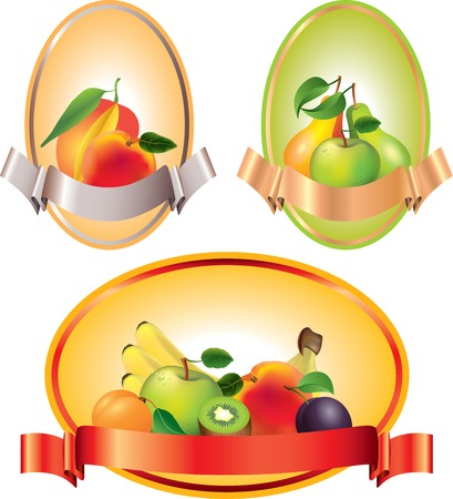 Labels with fruits, vector banners or backgrounds Vector