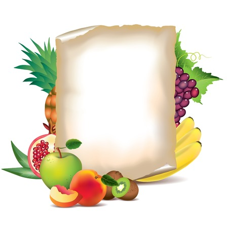 pineapple juice: Fruits and sheet of paper vector background