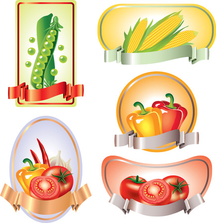 canned drink: Labels with vegetables, vector banners