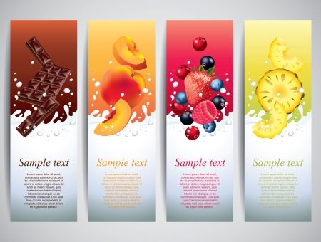 pineapple juice: Fruits and berries in milk splashes vector banners Illustration