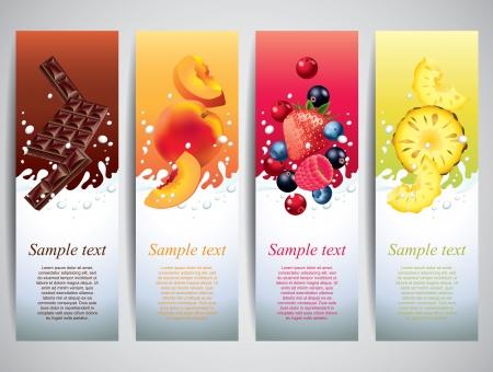 sappen: Vruchten en bessen in de melk spatten vector banners