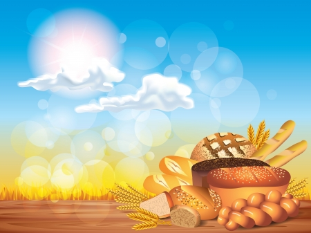 Breads and wheat on wooden table and sunny background vector illustration Vector