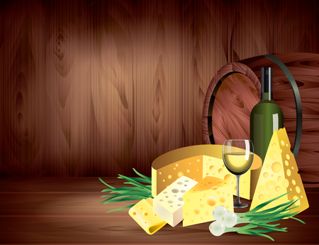 Cheeses, onions and wine still life on dark wooden background vector illustration Vector