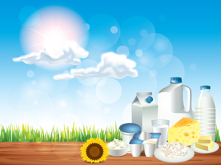 cottage cheese: Dairy products on wooden table and sunny background vector illustration
