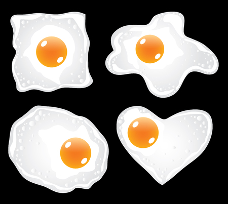 scrambled eggs: Fried eggs in different forms on black background vector set Illustration