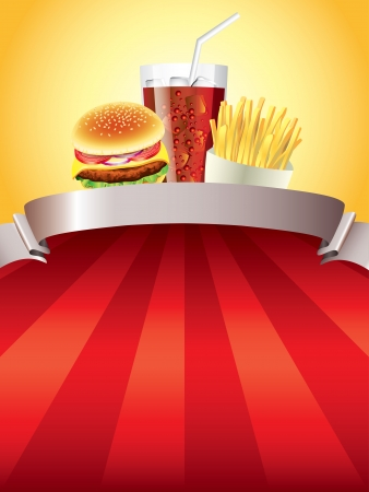 Hamburger, fried potatoes and cola on red stripped background vector illustration Vector