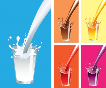 Milk, juice, chocolate splashes and glass vector set