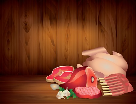 raw pork: Meat and greens on wooden table, dark vector background Illustration