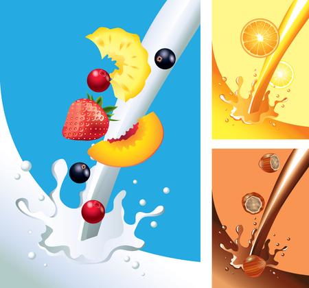 milky: Milk, juice, chocolate splashes with fruits vector set