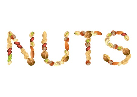 pistachios: Nuts word from different seeds vector illustration Illustration