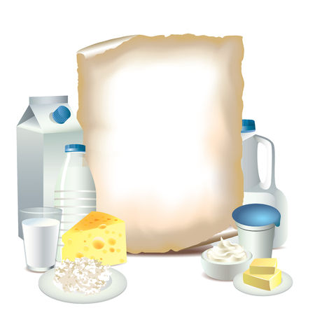 Dairy products and sheet of paper vector illustration Illustration