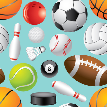 Different sport balls seamless background vector illustration Vector
