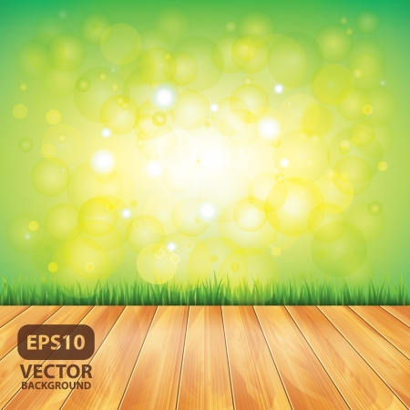 agriculture wallpaper: Yard with wood floor and green grass, vector background Illustration