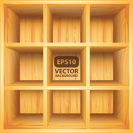 Empty wooden bookshelf, photorealistic vector background Stock Vector - 23024797