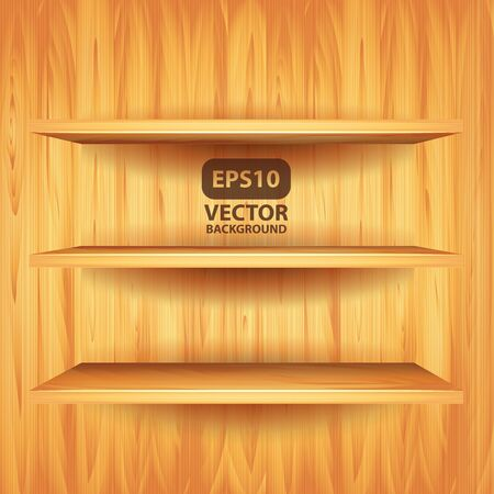 wooden shelves: Empty wooden shelves, photorealistic vector background