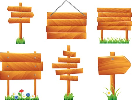 arrow wood: Wooden signs and boards with grass and flowers, vector set