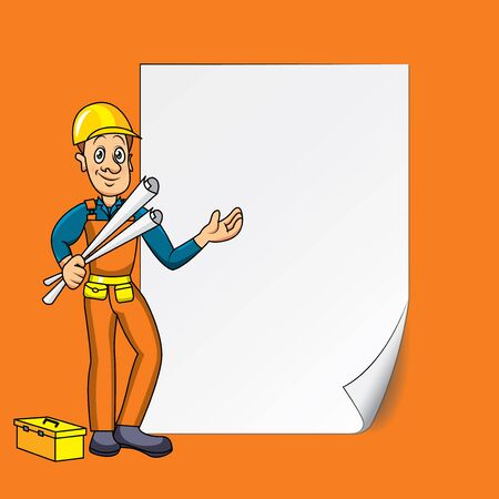 Engineer or builder with blank sheet of paper vector background Vector