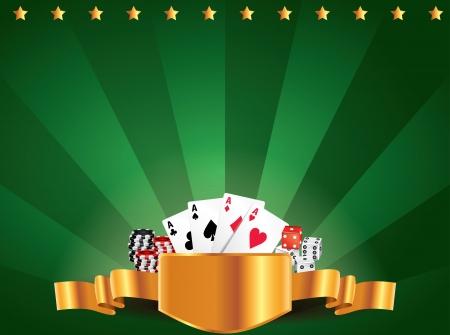 Casino green luxury horizontal background with golden label Vector