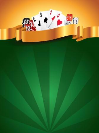 ゴールデン リボンとカジノ緑高級垂直背景