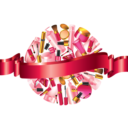 manicure pink: Cosmetics in sphere form and ribbon for your text Illustration